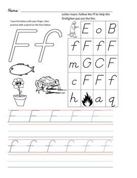 D'Nealian Letter Trace Practice Page - Ff
