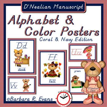 D'Nealian Manuscript ALPHABET & COLOR POSTERS: Coral & Nav