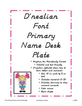 D'nealian font desk name plate with numerals, dominoes, co