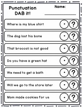 DAB it Activities - Punctuation