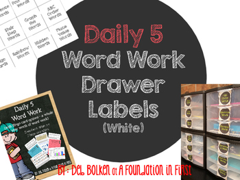 DAILY 5  WORD WORK Drawer Labels White with Black Chalkboa