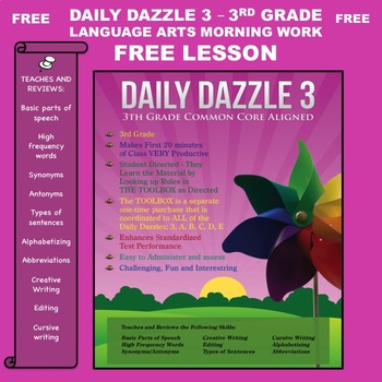 FREE LANGUAGE ARTS BELL RINGER LESSON - DAILY DAZZLE 3 (3rd grd)