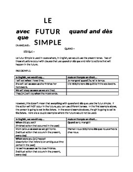 works w/ D'Accord 2 Unit 5 : the futur simple with QUAND a
