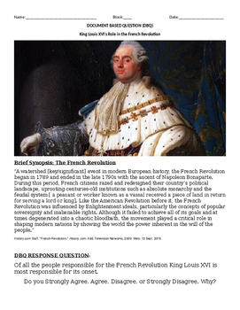 DBQ: How Responsible Was King Louis XVI for the onset of t