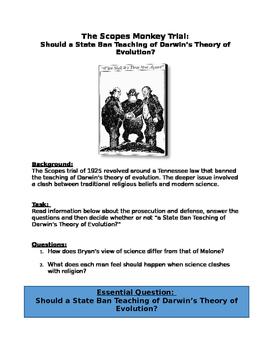 DBQ The Scopes Monkey Trial:Ban Teaching of Darwin's Theor