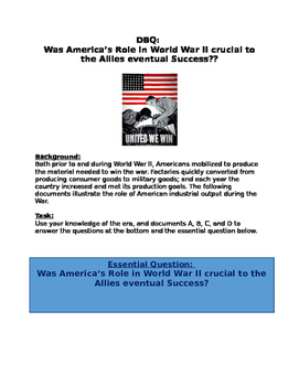 DBQ: Was America's Role in World War II crucial to the All