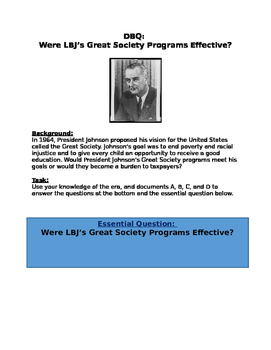 DBQ: Were LBJ's Great Society Programs Effective?