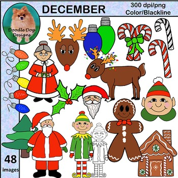 DECEMBER AND HOLIDAY CLIP ART, 48 GRAPHICS