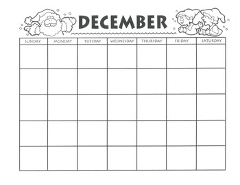 DECEMBER Calendar, Activities and Themed Writing Pages - FREE