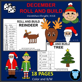 DECEMBER ROLL AND BUILD - REINDEER, TREE, SANTA, ELF