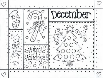 DECEMBER picture to color