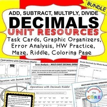 DECIMALS BUNDLE Task Cards, Error Analysis, Graphic Organi