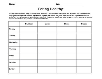 DECIMALS - HEALTHY EATING ACTIVITY