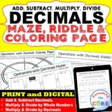 DECIMALS Maze, Riddle & Coloring Page (Fun Activities)