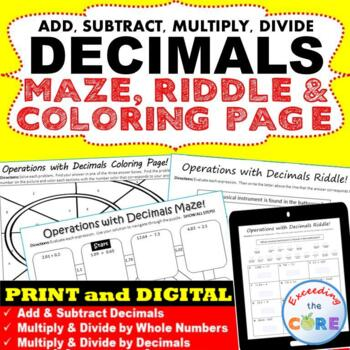 DECIMALS Maze, Riddle & Coloring Page (Fun MATH Activities)