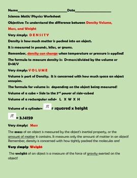 DEFINING MEASUREMENT: DENSITY,VOLUME,MASS & WEIGHT