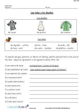 DESCRIBING PATTERNS AND MATERIALS (SPANISH 2016 EDITION)