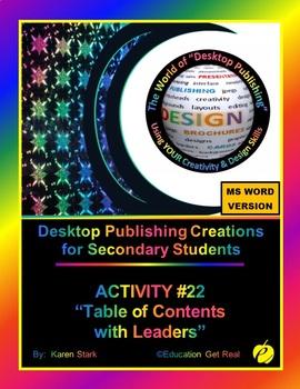 "DESKTOP PUBLISHING (Comp.Apps/ Wd.Proc.) ""#22 Table of Con"