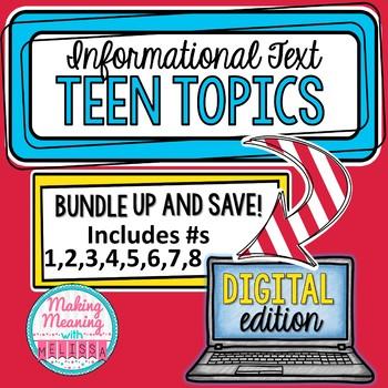 DIGITAL Informational Text - Teen Topics BUNDLE #1 Engagin