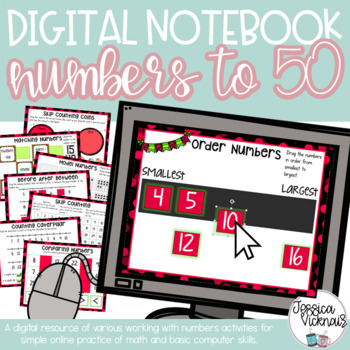 Math DIGITAL Interactive Notebook: Numbers to 50 {Ordering