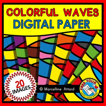 COLORFUL WAVES DIGITAL PAPER CLIPART PACK: BACKGROUNDS CLIPART