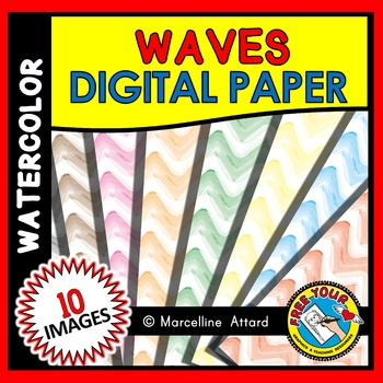 WAVES DIGITAL PAPER: WATERCOLOR BACKGROUNDS: WATERCOLOR CL
