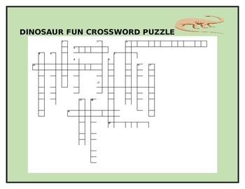 DINOSAUR FUN CROSSWORD PUZZLE GRADES 3-7 W/ANSWER KEY