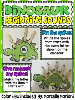 DINOSAURS-BEGINNING SOUNDS CENTER- Pin The Spikes on the S