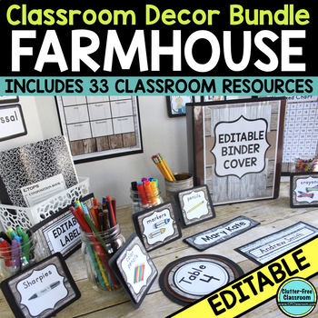 DISTRESSED WOOD THEME Classroom Decor-EDITABLE Clutter-Fre