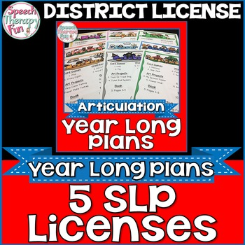 DISTRICT LICENSE FOR 5 SLPs: Articulation Plans & Material