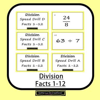 Editable Math Facts Division 1-12 Fluency - 4 PowerPoints