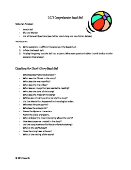 DIY Comprehension Beach Ball Instructions and Questions