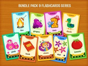 DIY Printable Bundle pack 9 flashcard series for teaching,