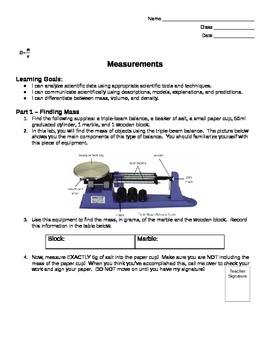 D=M/V Measurements