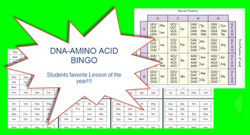 DNA Amino Acid Bingo