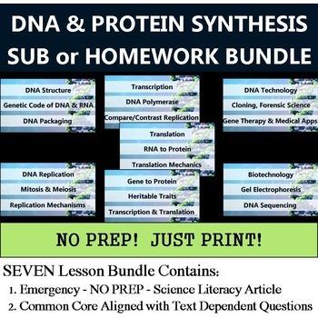 DNA & Protein Synthesis Homework Bundle - NO PREP Sub - Co