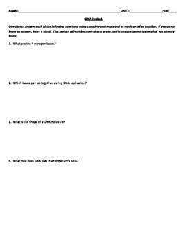 DNA Quiz With 4 Versions, Study Guide, Pretest, & Answer Keys