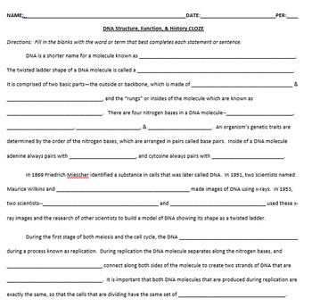 DNA Structure, Function, & History CLOZE Cooperative Worksheet