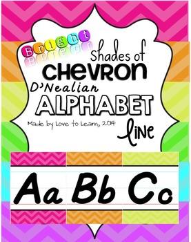 D'Nealian Alphabet Line - Bright Shades of Chevron