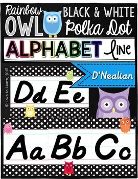 D'Nealian Alphabet Line - Rainbow Owl with Black & White P