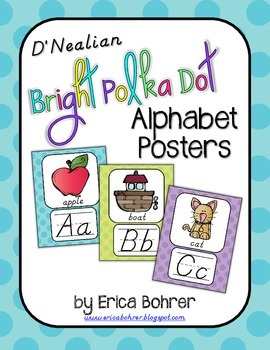 D'Nealian Bright Polka Dot Alphabet Posters