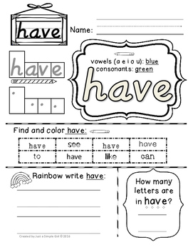 DNealian Kindergarten Sight Word Pack #1 (cut-free)