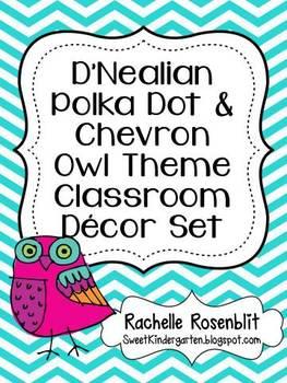 D'Nealian Polka Dot & Chevron Owl Theme Classroom Decor Set