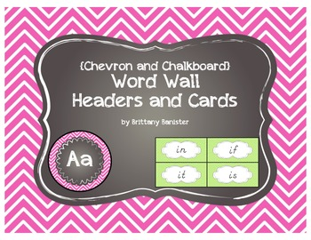 D'Nellian Chevron Word Wall Headers and Sight Word Cards w