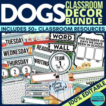 Are you planning a Dog themed classroom or thematic unit? This blog post provides great decoration tips and ideas for the best Dog theme yet! It has photos, ideas, supplies & printable classroom decor to will make set up easy and affordable. You can create a Dog theme on a budget!