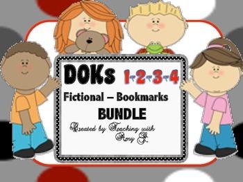 DOK 1, 2, 3 & 4 Fictional Question Bookmark Bundle