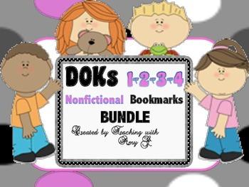 DOK 1, 2, 3 & 4 Nonfictional Question Bookmark Bundle w/ S