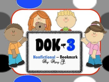 DOK3 Nonfictional Bookmarks w/Starter Questions for Critic