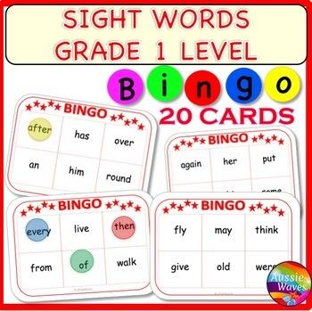 SIGHT WORDS Center Activity BINGO GAME CARDS Level 1 Words
