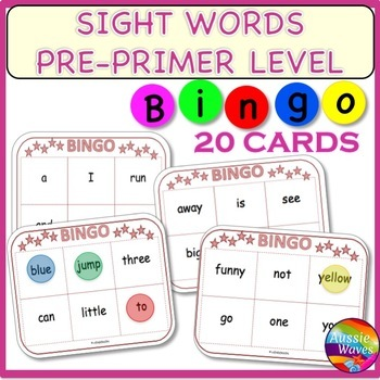SIGHT WORDS FREE Center Activity BINGO GAME CARDS  PRE-PRI